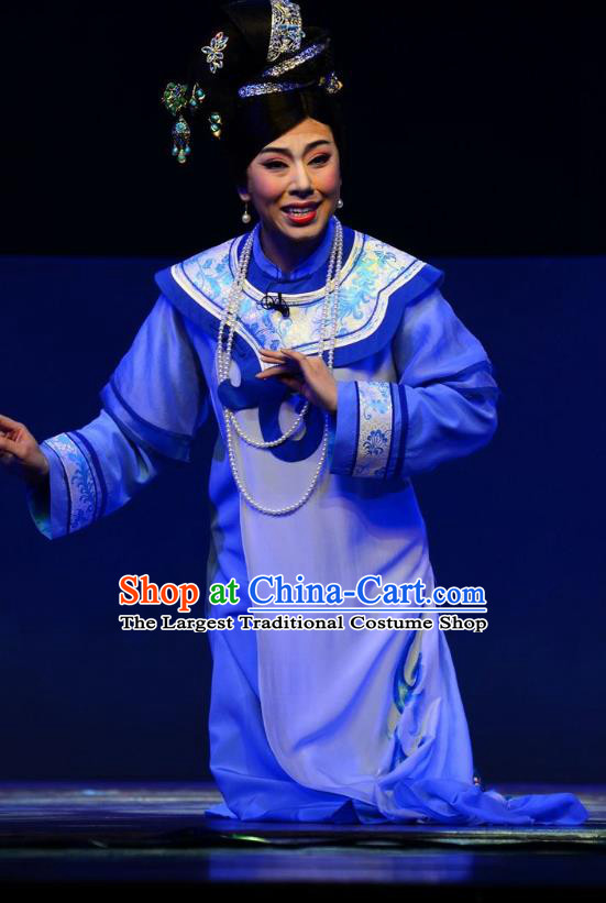 Chinese Ping Opera Palace Lady Costumes Apparels and Headdress Xiaozhuang Changge Traditional Pingju Opera Qing Dynasty Blue Dress Garment