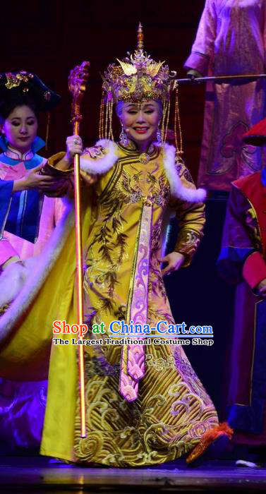 Chinese Ping Opera Qing Dynasty Queen Mother Costumes Apparels and Headdress Xiaozhuang Changge Traditional Pingju Opera Actress Dress Garment