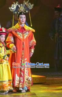 Chinese Ping Opera Qing Dynasty Empress Costumes Apparels and Headdress Xiaozhuang Changge Traditional Pingju Opera Actress Dress Queen Garment
