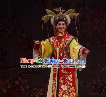 Chinese Ping Opera Actress Qing Dynasty Empress Costumes Apparels and Headdress Xiaozhuang Changge Traditional Pingju Opera Diva Dress Queen Garment