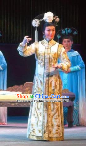 Chinese Ping Opera Qing Dynasty Palace Lady Costumes Apparels and Headdress Xiaozhuang Changge Traditional Pingju Opera Young Female Dress Garment