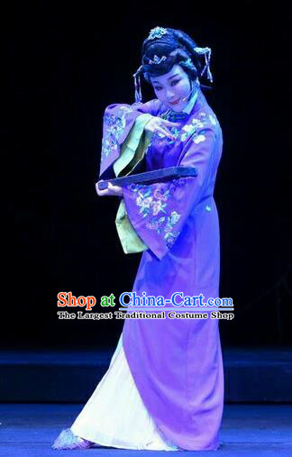 Chinese Ping Opera Qing Dynasty Hostess Costumes Apparels and Headdress Ji Yin Chuan Qi Traditional Pingju Opera Widow Leng Yuefang Dress Young Female Garment