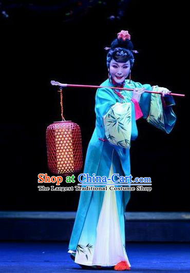 Chinese Ping Opera Hostess Leng Yuefang Costumes Apparels and Headdress Ji Yin Chuan Qi Traditional Pingju Opera Diva Green Dress Garment