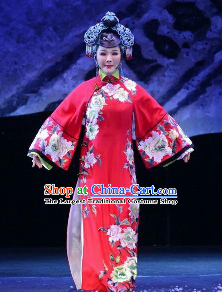Chinese Ping Opera Diva Costumes Apparels and Headpieces Ji Yin Chuan Qi Traditional Pingju Opera Young Female Widow Leng Yuefang Red Dress Garment