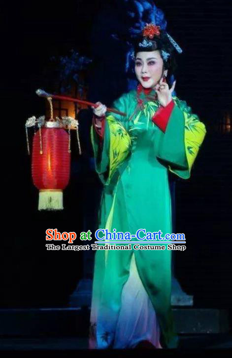 Chinese Ping Opera Actress Costumes Widow Leng Yuefang Apparels and Headpieces Ji Yin Chuan Qi Traditional Pingju Opera Hua Tan Green Dress Garment