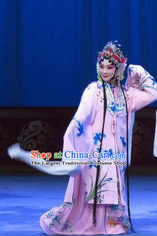 Chinese Ping Opera Actress Costumes Apparels and Headpieces The Beautiful Courtesan Traditional Pingju Opera Hua Tan Pink Dress Diva Du Shiniang Garment