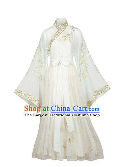 Chinese Traditional White Hanfu Dress Jin Dynasty Royal Princess Historical Costumes Ancient Court Lady Embroidered Apparels
