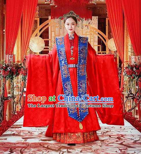 Chinese Traditional Empress Apparels Bride Red Hanfu Dress Ancient Queen Ming Dynasty Wedding Historical Costumes Complete Set