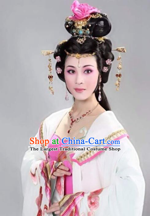 Chinese Shaoxing Opera Imperial Consort Costumes Zhen Huan Apparels Yue Opera Diva Garment Hua Tan Young Lady White Dress and Hair Jewelry