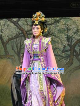 Chinese Shaoxing Opera Imperial Consort Purple Dress Costumes Zhen Huan Apparels Yue Opera Hua Tan Diva Garment and Headpieces