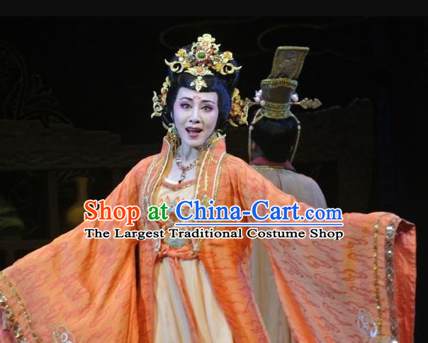 Chinese Shaoxing Opera Diva Orange Dress Costumes and Headpieces Zhen Huan Apparels Yue Opera Hua Tan Imperial Consort Garment