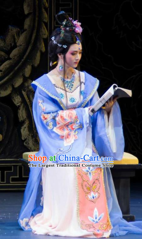 Chinese Shaoxing Opera Palace Lady Dress Costumes Zhen Huan Apparels Yue Opera Hua Tan Noble Consort Garment and Headpieces