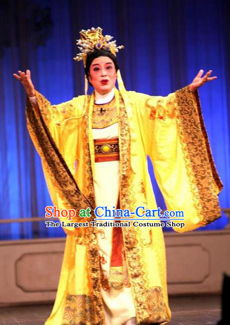 Chinese Yue Opera Emperor Apparels Zhen Huan Shaoxing Opera Costumes Royal Monarch Garment Ceremonial Robe and Headwear
