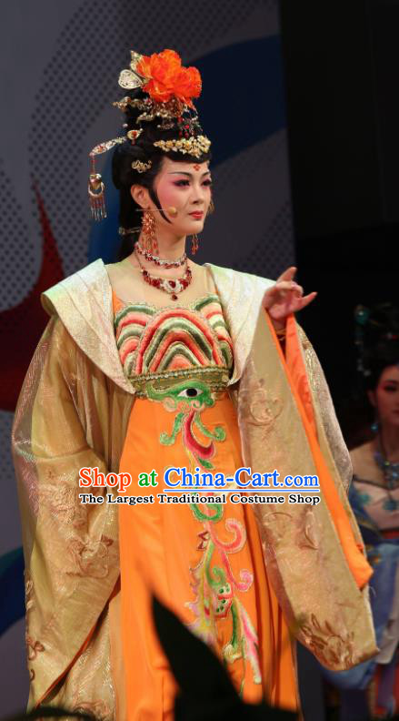 Chinese Shaoxing Opera Court Lady Imperial Consort Costumes Yue Opera Hua Tan Zhen Huan Diva Apparels Garment Golden Dress and Headdress