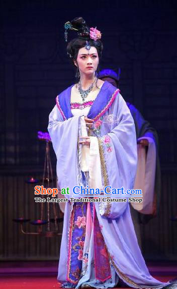 Chinese Shaoxing Opera Diva Imperial Consort Costumes Yue Opera Hua Tan Zhen Huan Apparels Court Lady Garment Purple Dress and Hair Accessories