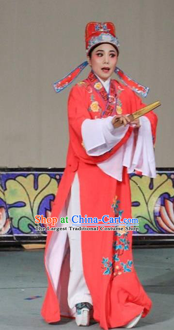 Chinese Yue Opera Xiaosheng Apparels The Wrong Red Silk Shaoxing Opera Young Men Costumes Scholar Garment and Hat