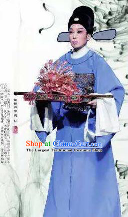 Chinese Yue Opera Niche Scholar Costumes Garment Shaoxing Opera Phoenix Tears Apparels Zhou Ren Official Clothing and Headwear