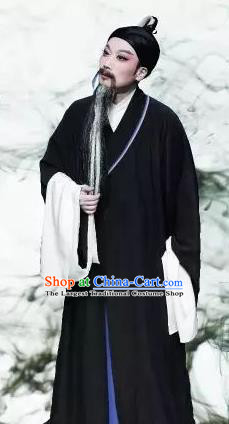 Chinese Yue Opera Elderly Male Costumes Garment Shaoxing Opera Phoenix Tears Apparels Old Scholar Clothing and Headdress