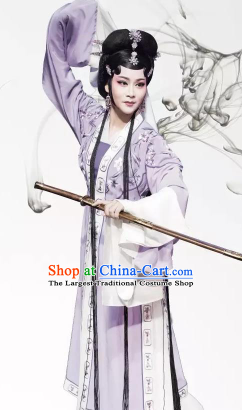 Chinese Shaoxing Opera Hua Tan Phoenix Tears Apparels Yue Opera Actress Costumes Young Lady Li Suzhen Purple Dress Garment and Hair Accessories