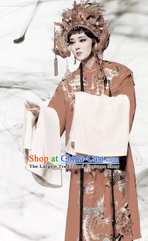 Chinese Shaoxing Opera Bride Wedding Garment Phoenix Tears Apparels Yue Opera Hua Tan Actress Costumes Young Lady Red Dress and Phoenix Coronet