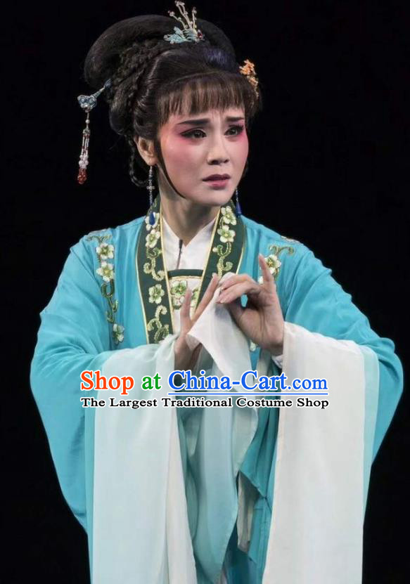 Chinese Shaoxing Opera Actress Garment Shuang Yu Chan Yue Opera Female Role Costumes Middle Female Female Cao Fang Er Dress Apparels and Headpiece