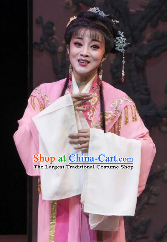 Chinese Shaoxing Opera Hua Tan Garment Shuang Yu Chan Yue Opera Actress Costumes Young Female Cao Fang Er Pink Dress Apparels and Headpiece