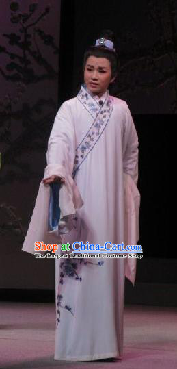 Chinese Yue Opera Scholar Costumes Garment Shuang Yu Chan Shaoxing Opera Xiao Sheng Apparels White Embroidered Robe and Headpiece