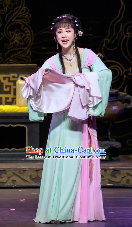 Chinese Shaoxing Opera Young Lady Costumes Yue Opera Zhen Huan Apparels Hua Tan Garment Blue Dress and Hair Accessories