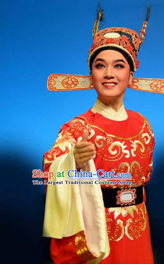 Chinese Yue Opera Number One Scholar Red Embroidered Robe Costumes and Headwear Shuang Yu Chan Shaoxing Opera Xiao Sheng Apparels Garment