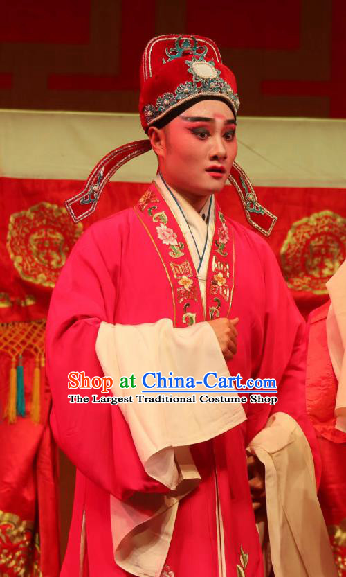Chinese Yue Opera Scholar Wedding Embroidered Robe Costumes and Hat Shaoxing Opera A Tragic Marriage Young Male Xiao Sheng Apparels Garment