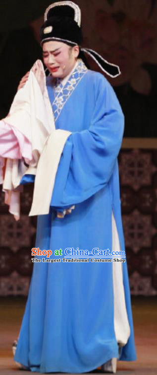 Chinese Yue Opera Childe Apparels The Wrong Red Silk Shaoxing Opera Xiaosheng Costumes Garment Young Male Scholar Robe and Hat