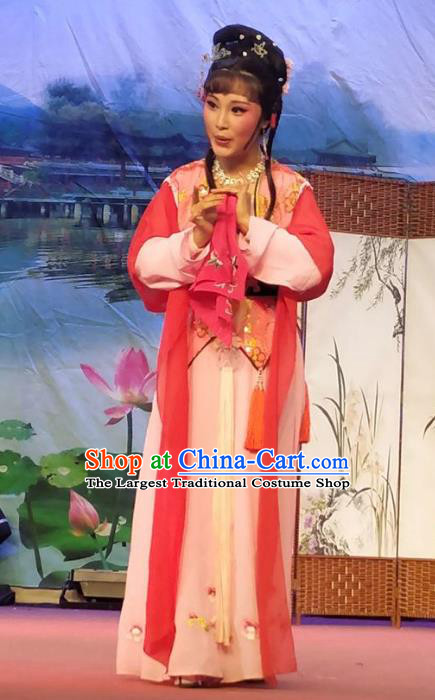 Chinese Shaoxing Opera Maidservant Costumes Yue Opera Xiao Dan The Wrong Red Silk Young Lady Garment Servant Girl Apparels and Hair Jewelry