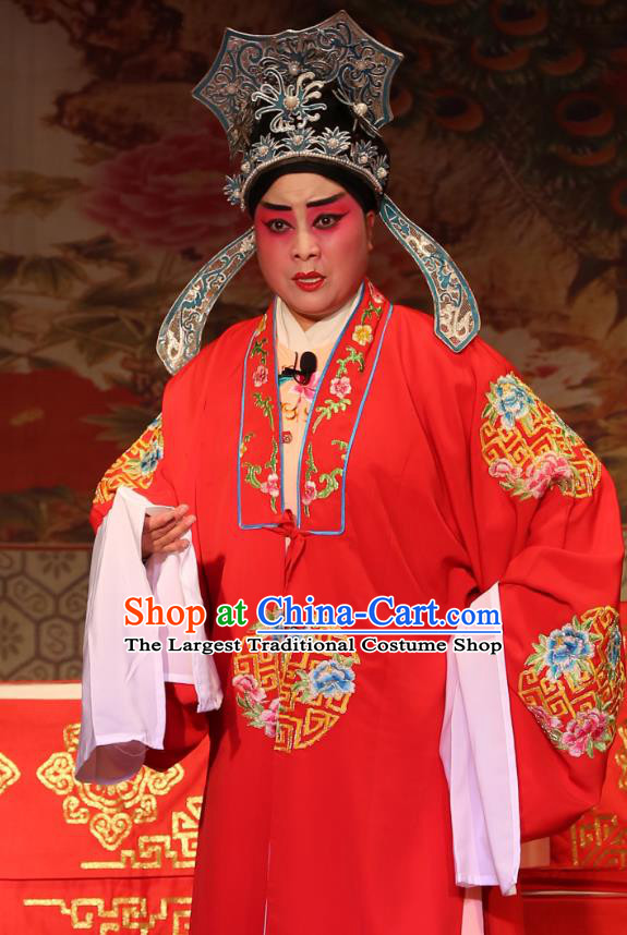 Chinese Yue Opera Young Male Zhang Qingyun Costumes Embroidered Robe and Hat Shaoxing Opera Xiao Sheng Apparels A Tragic Marriage Scholar Wedding Garment