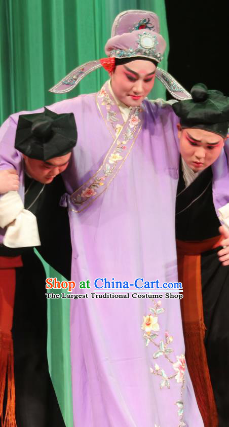 Chinese Yue Opera Sheng Role Costumes Purple Embroidered Robe and Headwear Shaoxing Opera Apparels A Tragic Marriage Scholar zhang Qingyun Garment