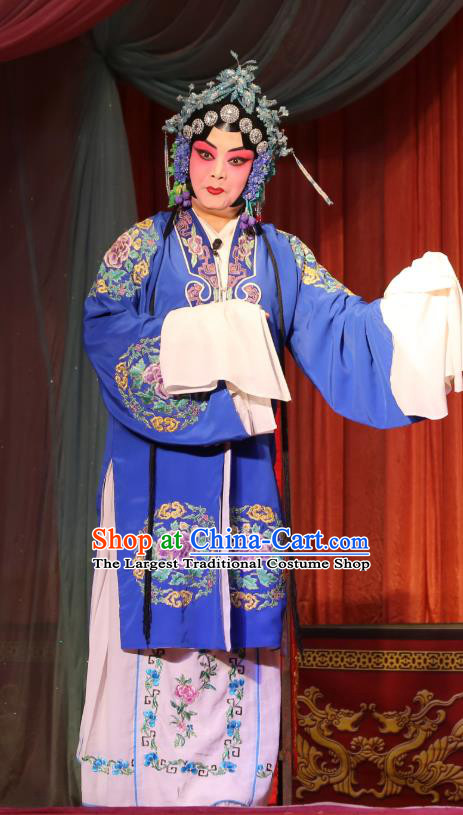 Chinese Shaoxing Opera Hua Dan Diva Blue Dress Garment A Tragic Marriage Yue Opera Actress Costumes Young Lady Apparels and Hair Jewelry