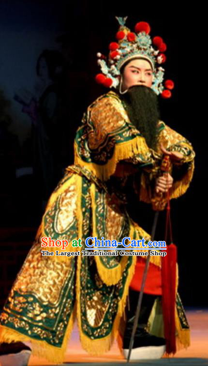 Chinese Yue Opera Wu Sheng Costumes Green Armor and Hat Shaoxing Opera Martial Male Apparels A Tragic Marriage Swordsman Garment