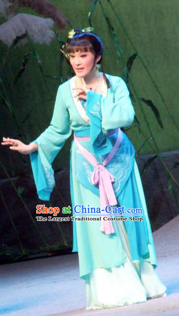 Chinese Shaoxing Opera Young Female Blue Dress Garment The Legend of Pearl Zhen Zhu Chuan Qi Yue Opera Costumes Country Woman Apparels and Hair Accessories