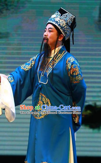 The Wrong Red Silk Chinese Yue Opera Elderly Male Apparels Shaoxing Opera Laosheng Costumes Garment Landlord Blue Robe and Hat