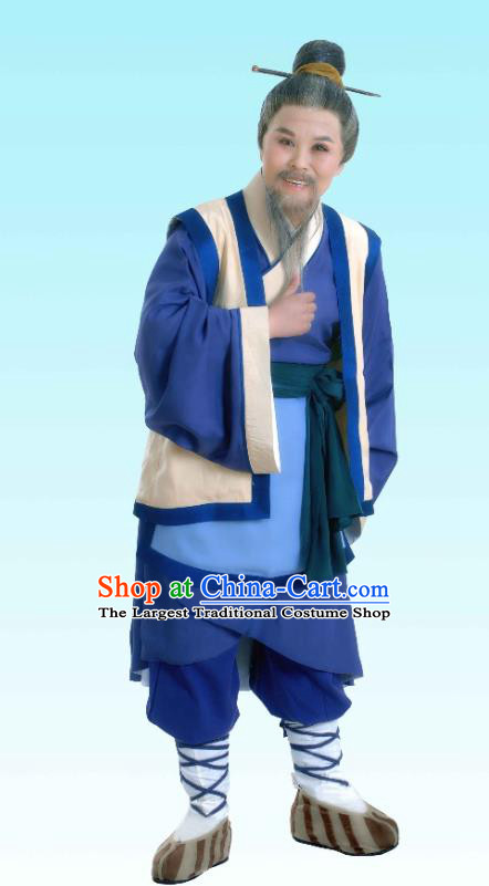 Chinese Yue Opera Elderly Man Costumes and Hair Accessories Shaoxing Opera The Legend of Pearl Zhen Zhu Chuan Qi Apparels Old Farmer Garment