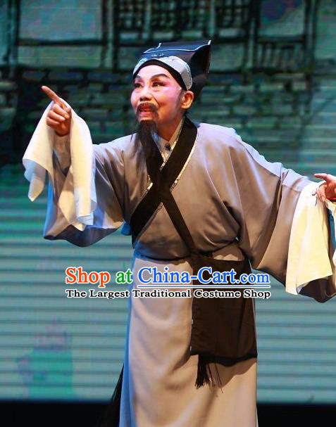 The Wrong Red Silk Chinese Yue Opera Civilian Elderly Male Apparels Shaoxing Opera Laosheng Costumes Farmer Garment and Hat