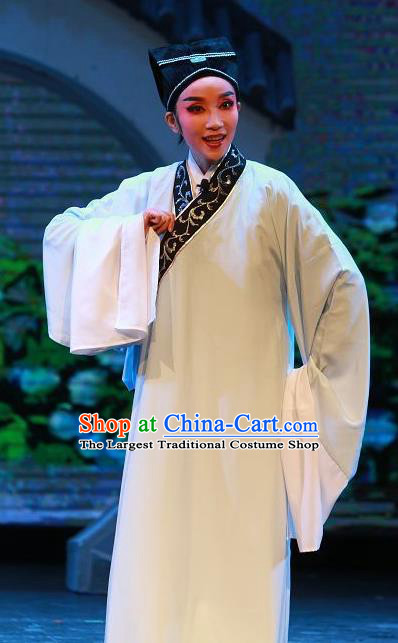 The Wrong Red Silk Chinese Yue Opera Young Male Apparels Shaoxing Opera Xiaosheng Costumes Garment Scholar Robe and Headwear