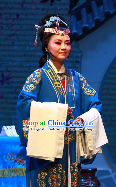 Chinese Shaoxing Opera Countess Costumes Yue Opera The Wrong Red Silk Garment Vieille Dame Apparels and Headdress