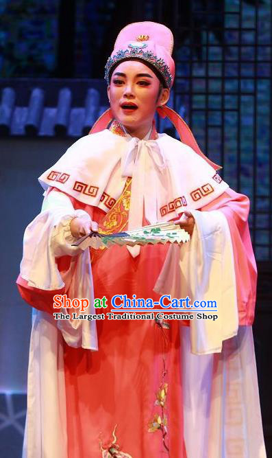 The Wrong Red Silk Chinese Yue Opera Niche Apparels Shaoxing Opera Xiaosheng Costumes Garment Scholar Young Men Embroidered Robe and Hat