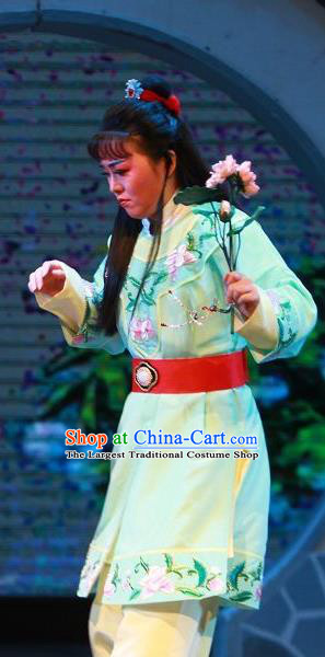 The Wrong Red Silk Chinese Yue Opera Livehand Apparels Shaoxing Opera WaWa Sheng Costumes Servant Garment and Headpiece