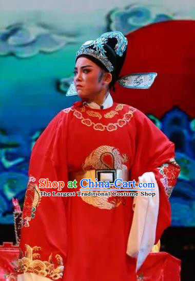 Chinese Yue Opera Scholar The Wrong Red Silk Apparels Shaoxing Opera Xiao Sheng Costumes Bridegroom Wedding Garment and Hat
