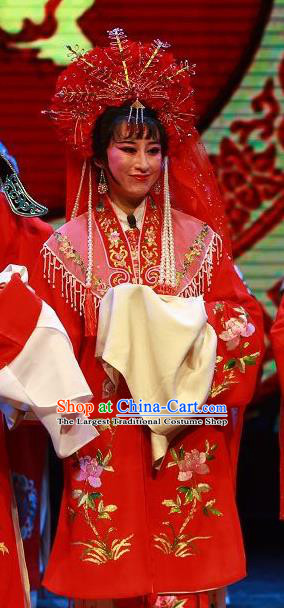 Chinese Shaoxing Opera Bride The Wrong Red Silk Costumes Yue Opera Wedding Garment Young Beauty Apparels and Headdress