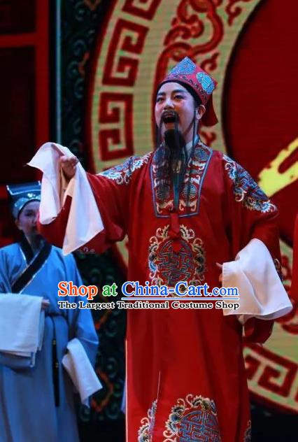 Chinese Yue Opera Ministry Councillor The Wrong Red Silk Apparels Shaoxing Opera Lao Sheng Costumes Elderly Male Garment and Headwear