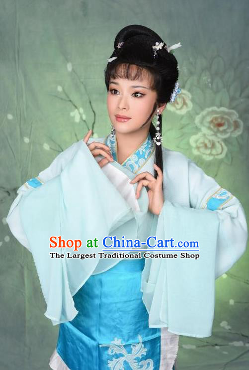 Chinese Shaoxing Opera Hua Tan Zhang Liuyue The Wrong Red Silk Costumes Yue Opera Beauty Garment Young Lady Blue Apparels and Headpieces