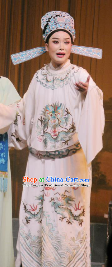 Chinese Yue Opera Xiao Sheng Costumes The Wrong Red Silk Shaoxing Opera Young Man Role Apparels Scholar Zhang Qiuren Garment Embroidered Robe and Hat