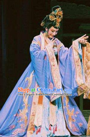 Chinese Shaoxing Opera Imperial Consort Costumes Yue Opera Zhen Huan Apparels Hua Tan Garment Court Lady Dress and Headpieces